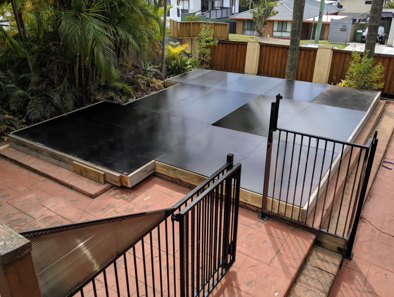 Knock down and rebuild hard pool cover during construction